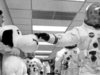 commander thomas stafford and the Apollo 10 mission mascot