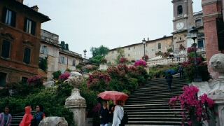 The famous Spanish Steps, bedecked with flowers.