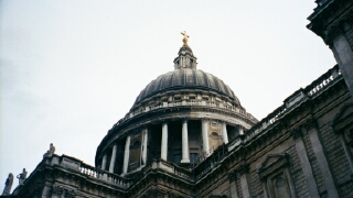 The dome of St Paul's Cathedral, as seen from the ground.  It's quite a climb.