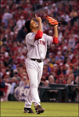 Pedro Martinez after a no-hitter in Game 3 of the 2004 World Series. Photo via Boston Globe.