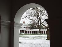 snow at uva from pav vii arcade