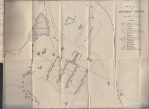 1895 map of the University of Virginia from the YMCA Student Handbook