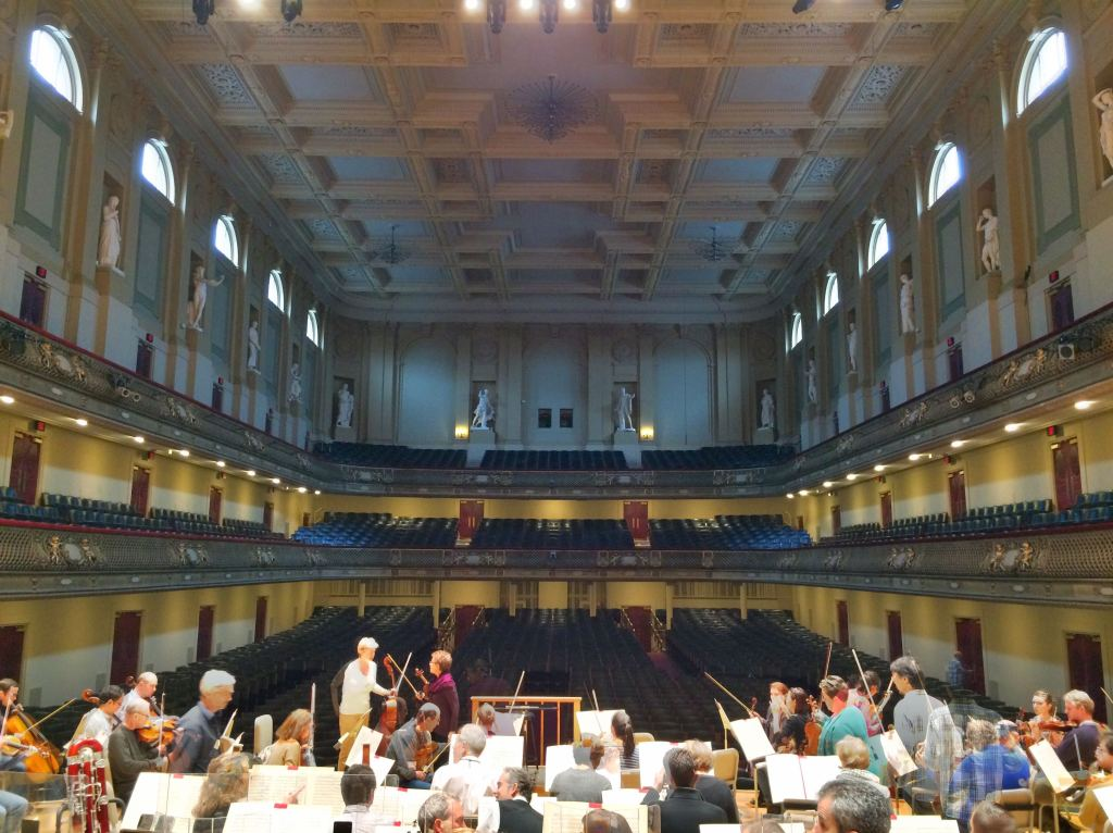 Symphony Hall, orchestra rehearsal for the Brahms Requiem.
