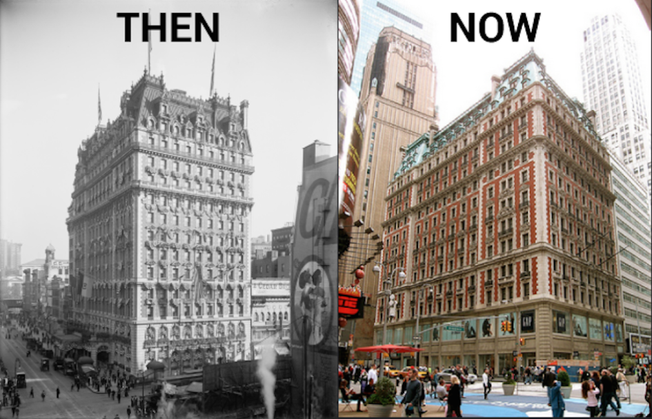 The Knickerbocker Hotel in Times Square, early 20th century and 2015