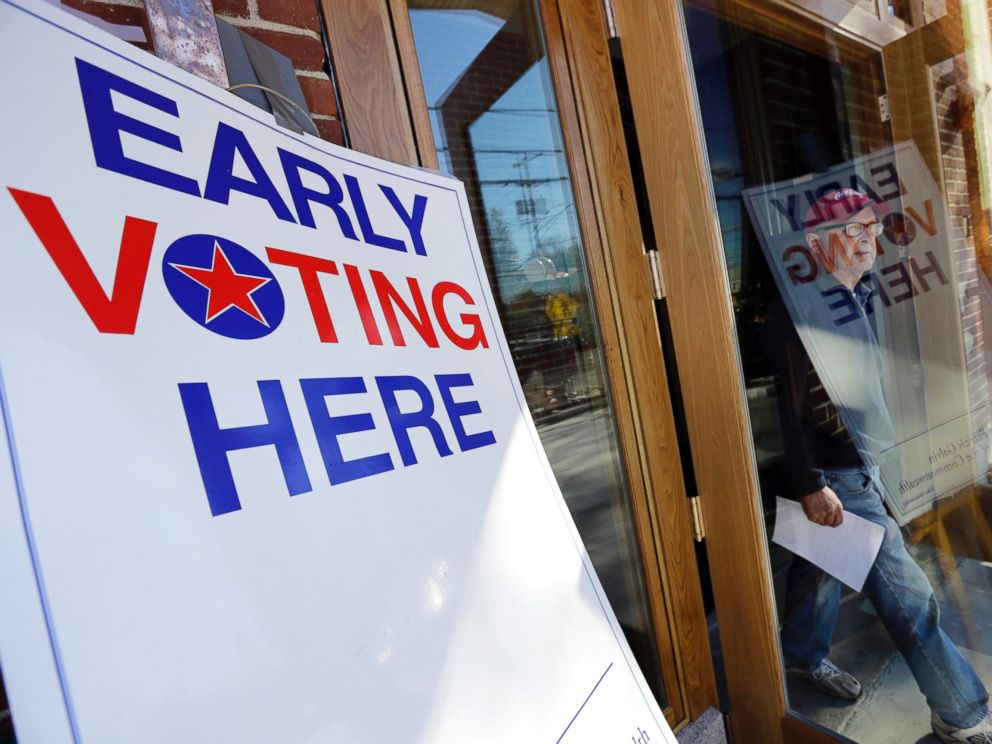 Early voting sign in Andover, Massachusetts (AP)